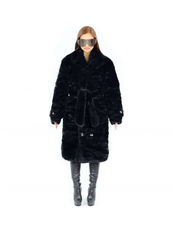 Amalthea Faux Fur Coat Black 1